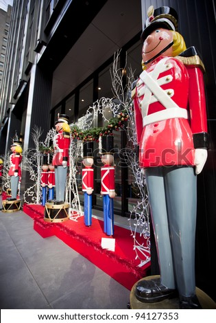 Life size nutcracker soldiers outside - stock photo