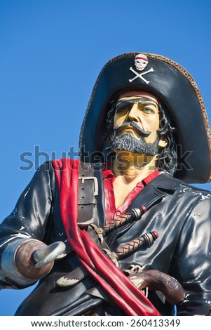 life-size pirate figure in Sestri Levante invites you to visit a seafood restaurant  - stock photo