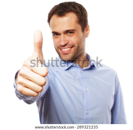 life style, business  and people concept: business man man going thumbs up, isolated on white - stock photo
