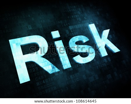 Life style concept: pixelated words Risk on digital screen, 3d render - stock photo