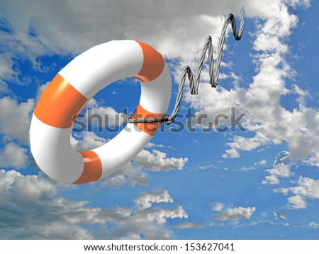 life vest sky clouds insurance - stock photo
