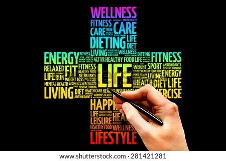 LIFE word cloud, health cross concept - stock photo