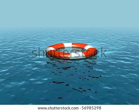 Lifebelt on sea - stock photo