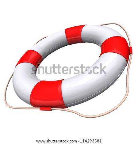 Lifebelt with white and red colors on the white background. - stock photo