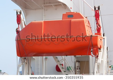 Lifeboat in offshore, rescue boat or rescue team in the sea. - stock photo