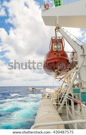 Lifeboat of cargo ship - stock photo