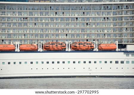 Lifeboats of cruise ship. - stock photo