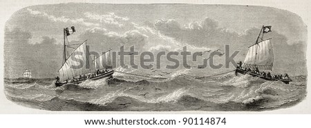 Lifeboats sailing after French vessel Imperatrice-du-Bresil shipwreck. Created by Lebreton, published on L'Illustration, Journal Universel, Paris, 1858