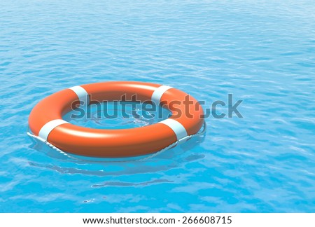 Lifebuoy and blue sea. Help, rescue concept illustration. - stock photo