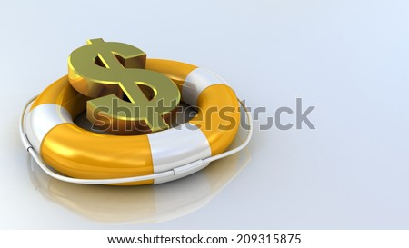 lifebuoy and dollar on a white background - stock photo