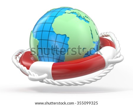 lifebuoy and globe Earth on a white background