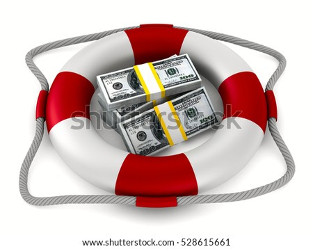 lifebuoy and money on white background. Isolated 3D image