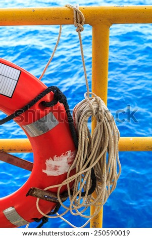 Lifebuoy and rope emergency