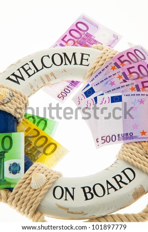 lifebuoy and �¢â���¬. salvation for greece. symbol of national debt. - stock photo