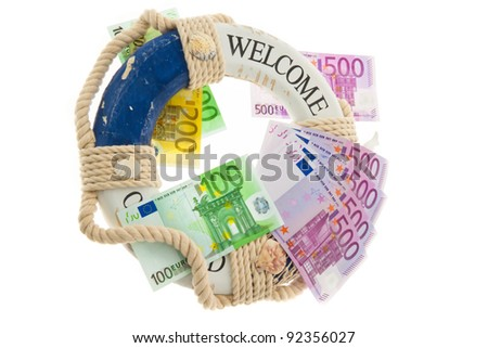 lifebuoy and salvation for greece. symbol of national debt. - stock photo