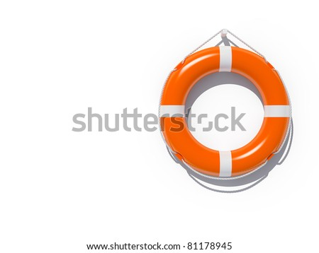 Lifebuoy attached to white wall - stock photo