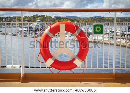 Lifebuoy. Concept of safe sea walk - stock photo