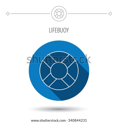 Lifebuoy icon. Lifebelt sos sign. Lifesaver help equipment symbol. Blue flat circle button. Linear icon with shadow.  - stock photo
