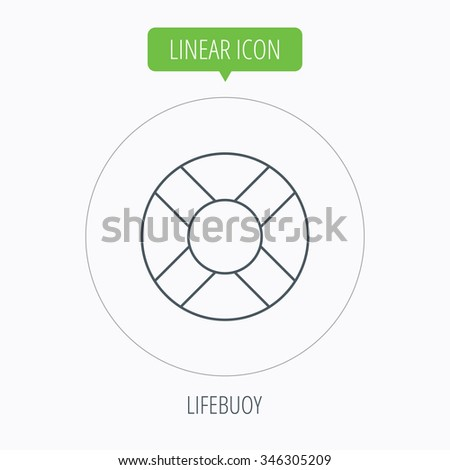 Lifebuoy icon. Lifebelt sos sign. Lifesaver help equipment symbol. Linear outline circle button.  - stock photo