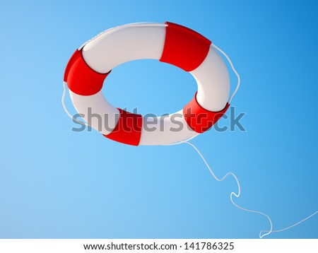 Lifebuoy in blue sky background - stock photo