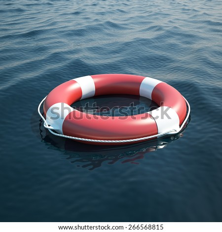 Lifebuoy in the sea, the ocean. 3d illustration high resolution - stock photo