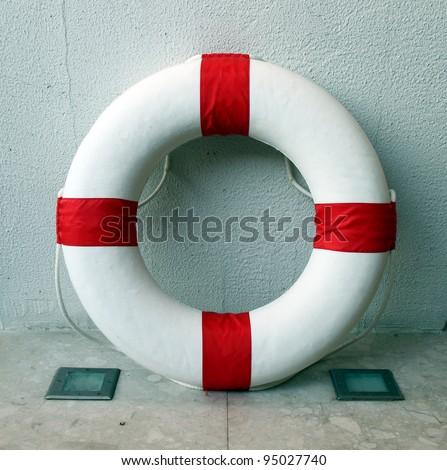 Lifebuoy inside the wall - stock photo