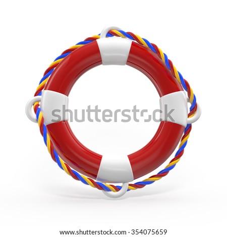 lifebuoy isolated on a white background. - stock photo