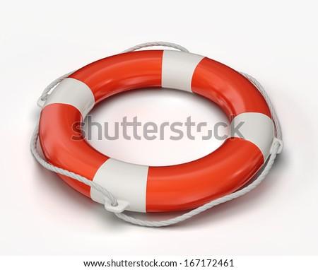 lifebuoy isolated on a white background. 3d illustration - stock photo