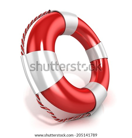 Lifebuoy isolated on white background. Left side view
