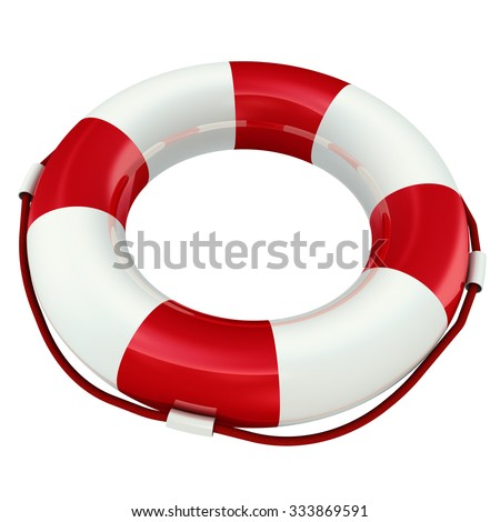 Lifebuoy isolated on white background. The three-dimensional illustration