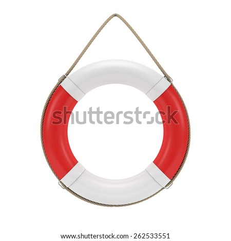 Lifebuoy isolated on white with clipping path - stock photo