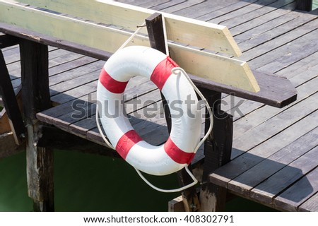 lifebuoy - life saving equipment - stock photo