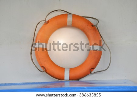 lifebuoy.Lifebuoy on a ship For rescue people overboard - stock photo