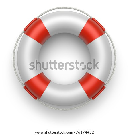 Lifebuoy on a white background. 3d image