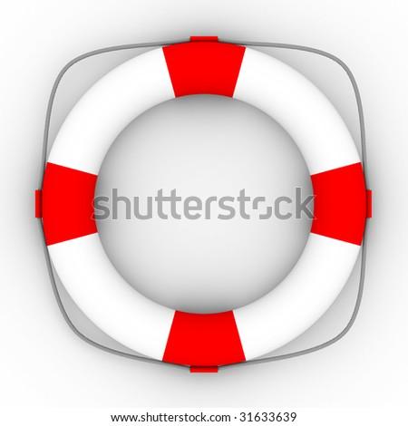 Lifebuoy on a white background. Isolated 3D image - stock photo