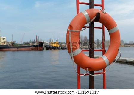 Lifebuoy on the coast of Baltic