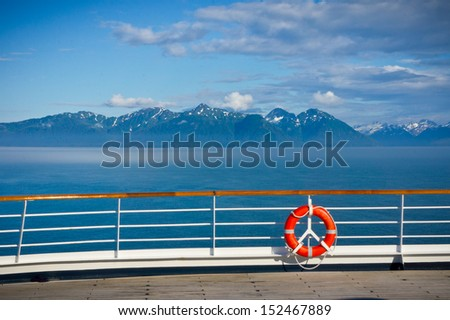 Lifebuoy on the open deck ship in Alaska, United States - stock photo