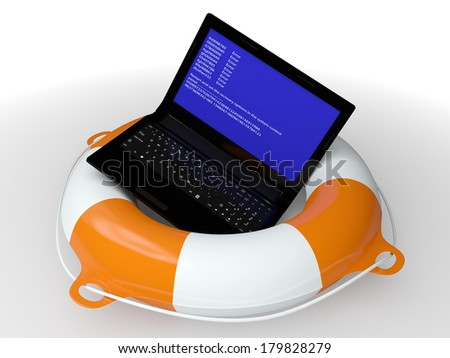 Lifebuoy ring and faulty computer - a symbol of the technical help 3d - stock photo