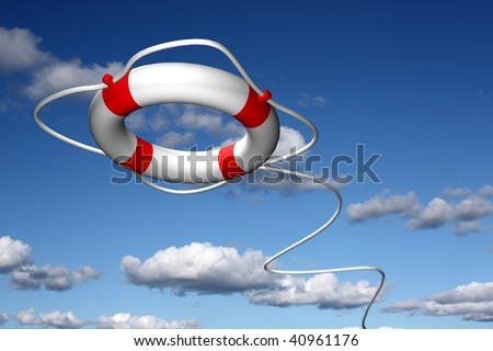 Lifebuoy ring flying to help - stock photo