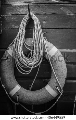 Lifebuoy ring  on a deck of an  vessel - stock photo