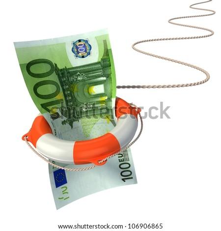 lifebuoy saving euro 3d concept - euro crisis - stock photo