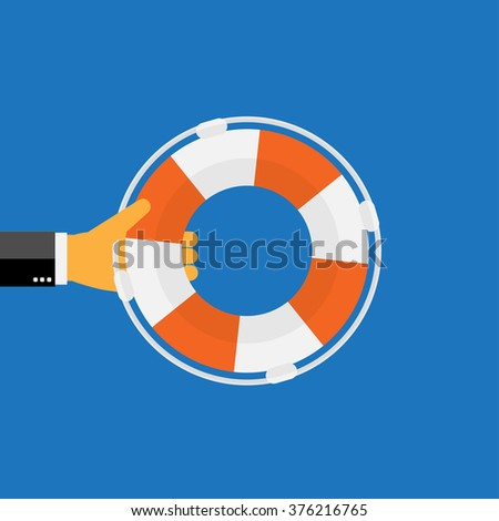 Lifebuoy web flat icon. - stock photo
