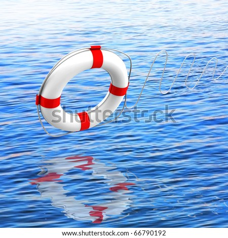 Lifebuoy white against the blue sea - a symbol of salvation - stock photo