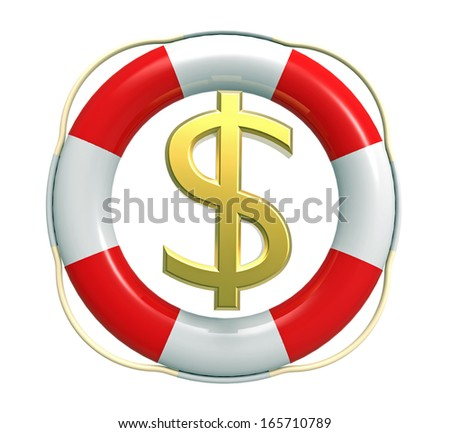 Lifebuoy with dollar sign, 3D render, isolated on white