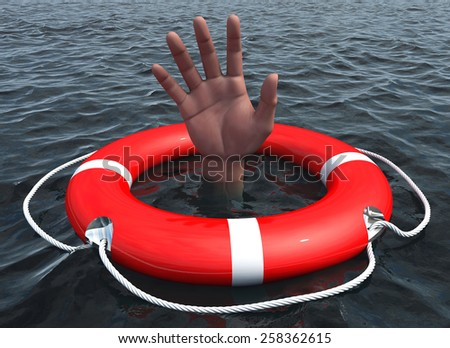 Lifebuoy with drowning hand in ocean  - stock photo