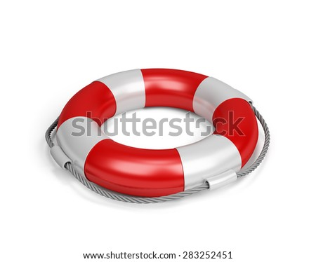 Lifebuoy with rope. 3d image. White background. - stock photo