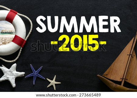 Lifebuoy with summer 2015 and Welcome on Board phrase on background - stock photo