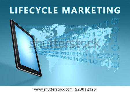Lifecycle Marketing illustration with tablet computer on blue background - stock photo
