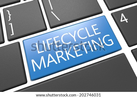Lifecycle Marketing - keyboard 3d render illustration with word on blue key - stock photo