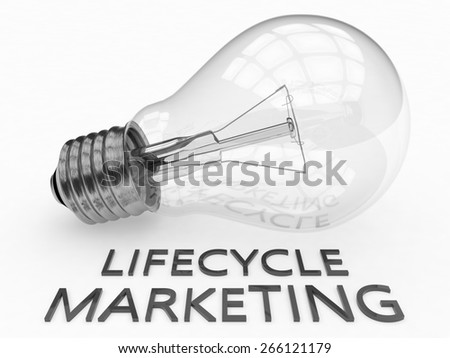 Lifecycle Marketing - lightbulb on white background with text under it. 3d render illustration. - stock photo